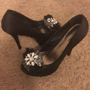 Black jeweled platform heels